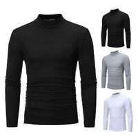 Men Polo Turtle neck T-Shirts Pullover Jumper Long Sleeve Tops Cardigan Sweater