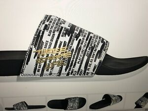 Adidas Three Stripes All Over Football Life Sandals Black / White Men's Slides