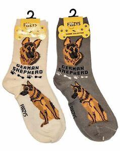 German Shepherd Dog Socks 2 Pairs Women's Foozys Canine Puppy Breed Cute Dogs