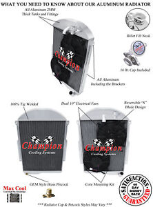 """3 Row Perf Champion Radiator W/ 2 10"""" Fans for 1939 Chevrolet Master 85 L6 Eng"""