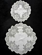 Vintage Handmade Filet Lace & Linen Doilie Doily White Round Matching Set Lot