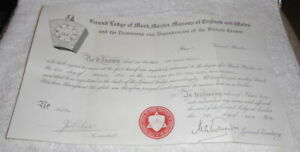 Vintage Masonic certificate, Mark Province of Worcestershire dated 1970