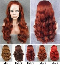 "24"" Front lace long wavy copper red brown blonde heat resistant synthetic wig."