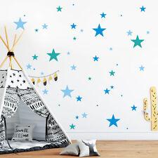 Pegatina Pared Decoración Estrellas (75teilig) Azul 3 Colores Niño Habitación De