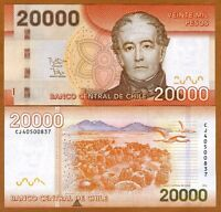 Chile, 20000 (20,000) Pesos, 2014, P-165-New, Small Printing Error UNC