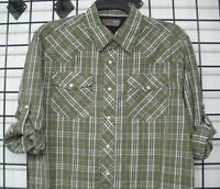 Wrangler Long Sleeve Western Plaid Shirt with Roll up Sleeves, NSP92BO, Olive