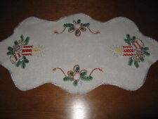 Schöne Weihnachtsdecke-Läufer-Handarbeit-Stickerei-Kerzen-Borte-Tischdecke-Neu