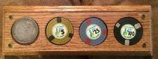 El Rancho Vegas 1880-O Silver $ & $5, $25 & $100 Chips Paperweight Las Vegas Nv