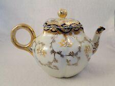 Antique Porcelain Teapot Melon Shape Gold & Cobalt Hand Painted Moriage
