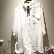 TK MAXX Pomme Rouge Striped Chiffon White Collard Oversized Shirt XXL 24-26 BNWT