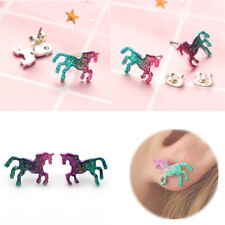 Fashion Colorful Unicorn Earrings Cartoons Animal Glitter Horse Earrings Jewelry