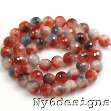"""Multi-Color Red Natural Agate Faceted Round Spacer Beads 15"""" 8x8mm(AG815)b"""