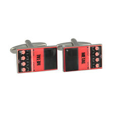 Metal Guitar Pedal Cufflinks Gift Boxed effects reverb overdrive distortion NEW