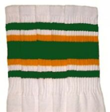 """22"""" KNEE HIGH WHITE tube socks with GREEN/GOLD stripes style 4 (22-87)"""