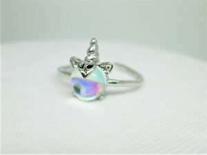 UNICORN HORN & COLOUR CATCHING STONE  CHILD / YOUNG ADULT  ADJUSTABLE RING