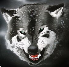 SNARLING WOLF Airbrushed Black T-shirt NEW DESIGN All Sizes up to 6X