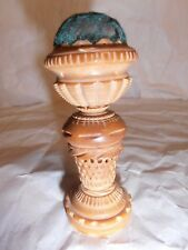 Vintage - Rare - Beautiful - Carved Vegetable Ivory - Pin Cushion & Tape Measure