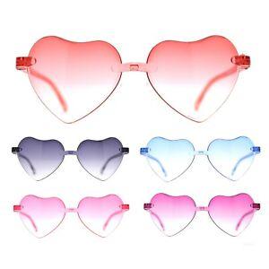 Girls Child Size Rimless Heart Shape Plastic Sunglasses