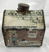 Vintage ABSOLUTELY PURE MAPLE SYRUP Metal Tin Can Container  16.9 fl oz size
