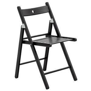 Folding Chairs Wooden Wood Studying Dining Office Student Uni Chair Black x1