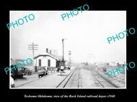 OLD LARGE HISTORIC PHOTO OF TEXHOMA OKLAHOMA, THE RAILROAD DEPOT STATION c1940