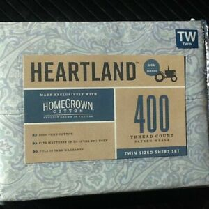BLUE PAISLEY 3-pc Heartland 400TC 100% HomeGrown Cotton Sateen Twin Sheet Set