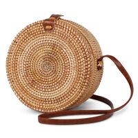 Circle Handwoven Bali Round Retro Rattan Straw Beach Bag 22*10cm Crossbody