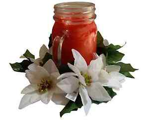 """Microfiber White Poinsettia 6.5"""" Candle Ring 3"""" Opening Jar (flower decor only)"""