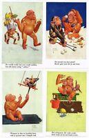 LAWSON WOOD ARTIST SIGNED ANIMALS MONKEY 12 Vintage Postcards
