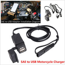 5V 2.1A Dual Ports SAE to USB Cable Adaptor Motorcycle Charger Socket For iPhone