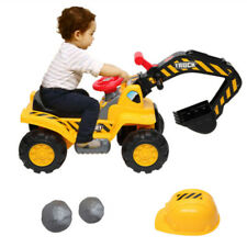 Children Ride on Excavator Toy Car Tractor Vehicle with Hat & Two Plastic Stone