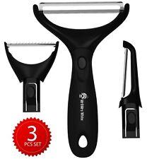 Peeler Set of 3 – Black Vegetable Peeler – 3 Stainless Steel Peelers