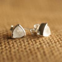 Handmade 925 Sterling Silver Moonstone Gemstone Triangle Stud Earrings