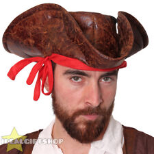 49bcb1b8d02 BROWN LEATHER LOOK CARIBBEAN PIRATE HAT ADULTS FANCY DRESS TRICORN ACCESSORY