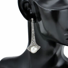 Beautiful Silver Plated White Simulated Pearl Crystal Dangle Statement Earrings