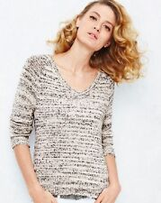 $248 EILEEN FISHER Moon Speckled Cotton Knit V Neck Top sz M NWT