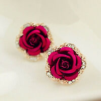 Noble Style Women Large Crystal Rose Earrings Rhinestone Red Flower Earring Stud
