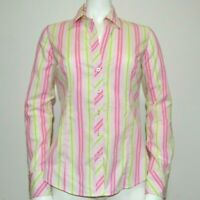 Lilly Pulitzer Top Size 4 Button Front Shirt Long Sleeve Stripe Pink Green
