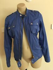 Ladies BEN SHERMAN Blue Jacket Size Small 8-10 Bomber Zip Up Lightweight