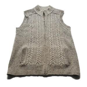 Orvis Sweater Vest Unisex Sz S Beige Knit Full Zip Wool Cashmere Blend w Pockets