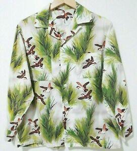 M Vtg 50s 60s Bird Trees All Over Print Mod Rockabilly Atomic Loop Collar Shirt