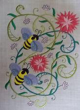 "Embroidered Quilt Block Panel ""Honey Bee"" Pure Irish Linen Fabric"