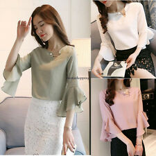 Korean Womens Loose Chiffon Solid Ruffle Sleeve Casual Career Tops Blouse Shirt