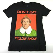 Elf The Movie Don't Eat Yellow Snow Mens Small Black Cotton T-Shirt BRAND NEW