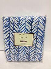 Pottery Barn PB Braid Bed Duvet Cover California King w/ Euro Sham Navy Blue