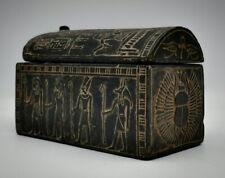 Rare EGYPTIAN BOX ANTIQUES EGYPT Pharaonic HIEROGLYPHIC SCARAB Carved STONE BC
