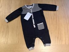 The Little White Company Knitted Romper, Navy Blue, Age 0-3 Months, RRP £32, NWT