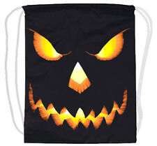 Halloween pumpkin drawstring backpack tote bag cinch sack lightweight cotton