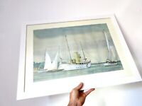 Mid Century Nautical Sailing Watercolour Painting - Professionally Framed