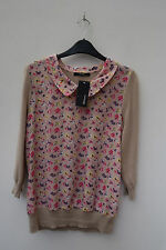 Cotton Blend Collared Floral Jumpers & Cardigans for Women